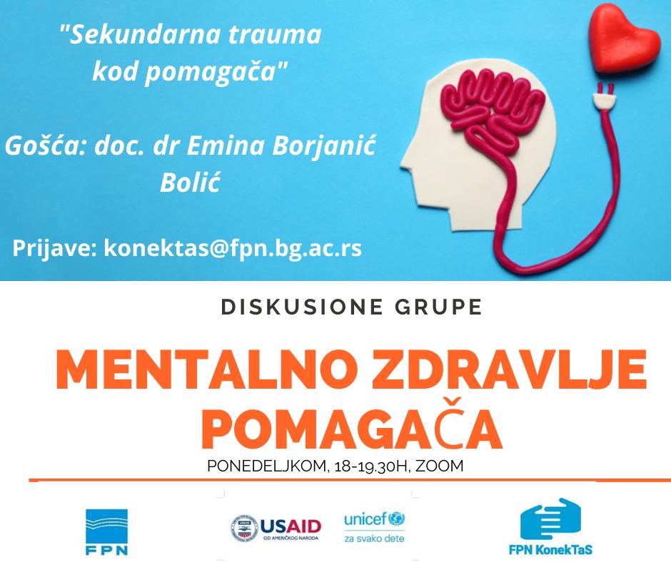 """Doc. dr Emina Borjanić Bolić gošća diskusione grupe """"Mentalno zdravlje pomagača"""""""